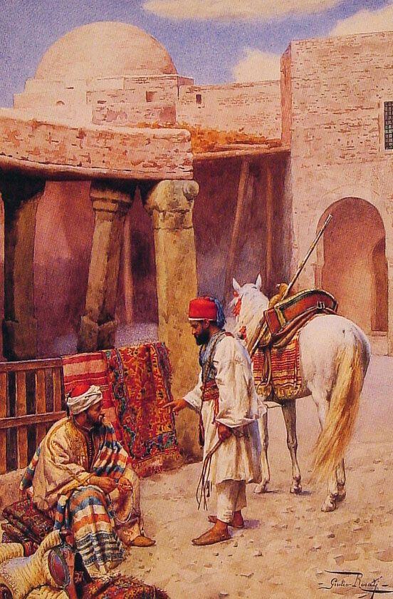 (2) Giulio Rosati (1858-1917)  -  The carpet seller, watercolour, 53,3 x 36,2 cm.