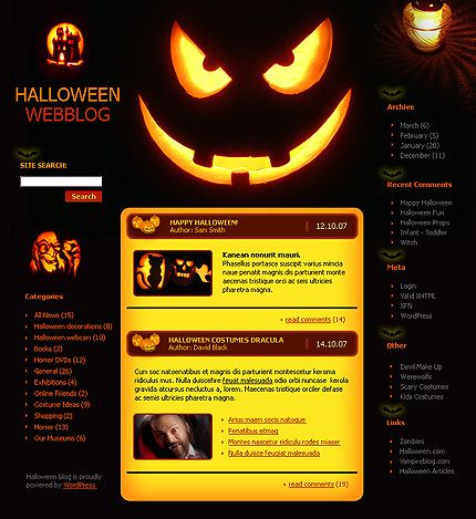 WordPress #template // Regular price: $25 // Unique price: $750 // Sources available: .PSD, .PHP, This theme is widgetized #Website #Halloween #LowBudget #WordPress #Blog