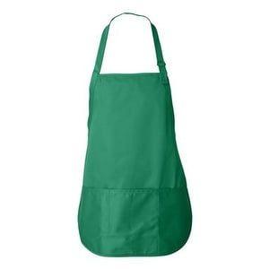 Liberty Bags Adjustable Neck Strap Three Pocket Apron - Kelly - One Size, Grey metal