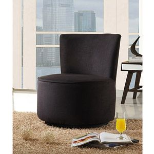 Round Microfiber Swivel Accent Chair Multiple Colors