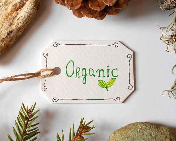 Organic labels Set of five cardstock tags for products