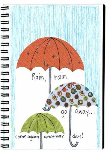 Rainy Day Umbrellas. Cut umbrellas from patterned paper, color in the rain, and write a poem underneath. #artprojectsforkids
