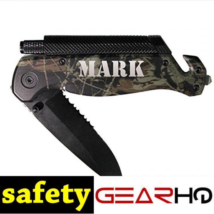 Engraved Black, Gray or Camo Survival Rescue Tactical Pocket Knife - Custom Personalized Groomsmen Knife Gifts  #engravedpocketknives #rescueknife https://www.safetygearhq.com/product/personal-safety/pocket-knives/engraved-black-gray-or-camo-survival-rescue-tactical-pocket-knife-custom-personalized-groomsmen-knife-gifts/