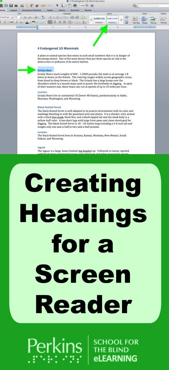Learn to create accessible headings for a screen reader.