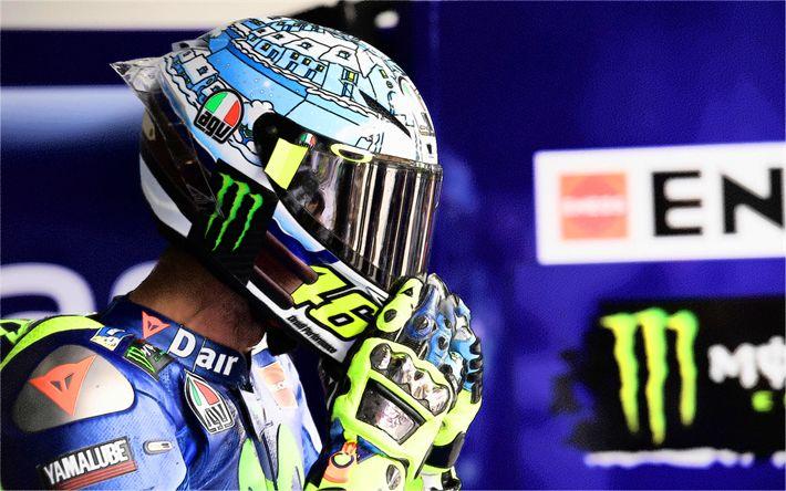 Hämta bilder Valentino Rossi, konst, sportbikes, ritningar, MotoGP, Yamaha