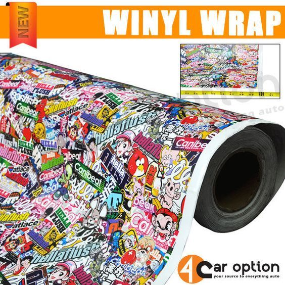 30 X 59 Inch JDM Cartoon Hellaflush Graffiti Sticker Bomb Vinyl Wrap Sheet Decal