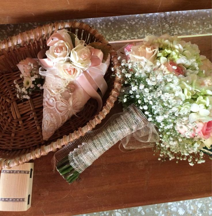 Rings pillow, Marriage Unity Coins, bouquet and Bottonier