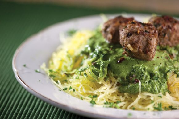 spaghetti squash with turkey meatballs and spinach sauce paleo pinterest spinach and sauces