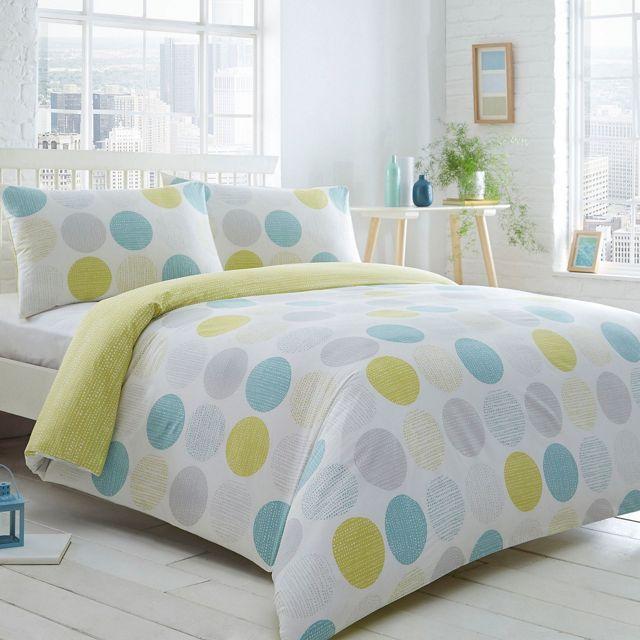 Aqua spotted 'Circles And Droplets' bedding set