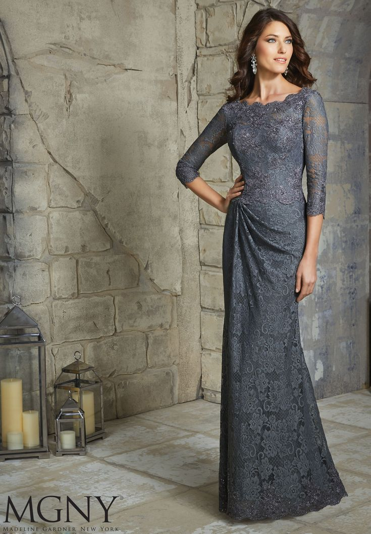 Evening Gowns and Mother of the Bride Dresses by MGNY Beaded Appliques on Allover Lace Available in Charcoal, Navy