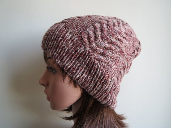 Hand-knit Cabled and Textured Slouchy Beanie Hat in by WoollyMomo