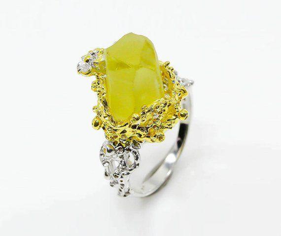 Yellow beryl raw ring, birthday gift women, raw stone, bright lemon