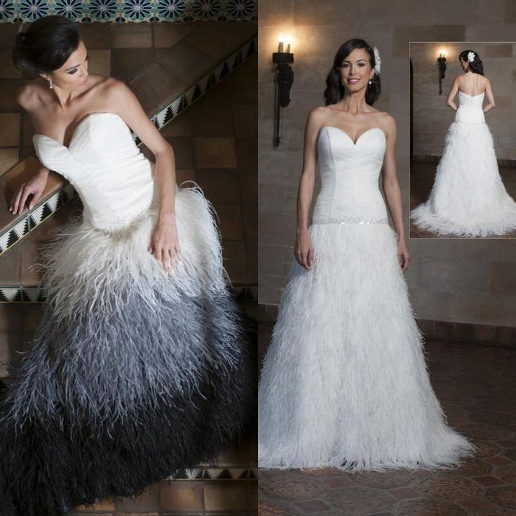 noble feather wedding dress spring 2015 strapless sweetheart crystal bead drop waist a line ivory black ostrich feather bridal wedding gowns
