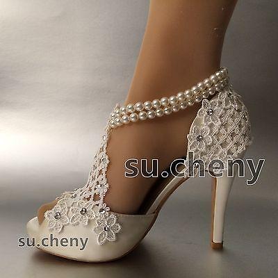 """3"""" 4"""" Salto de seda branco marfim renda aberto Toe Pérolas Tornozeleira sapatos casamento tamanho 5-9.5"""