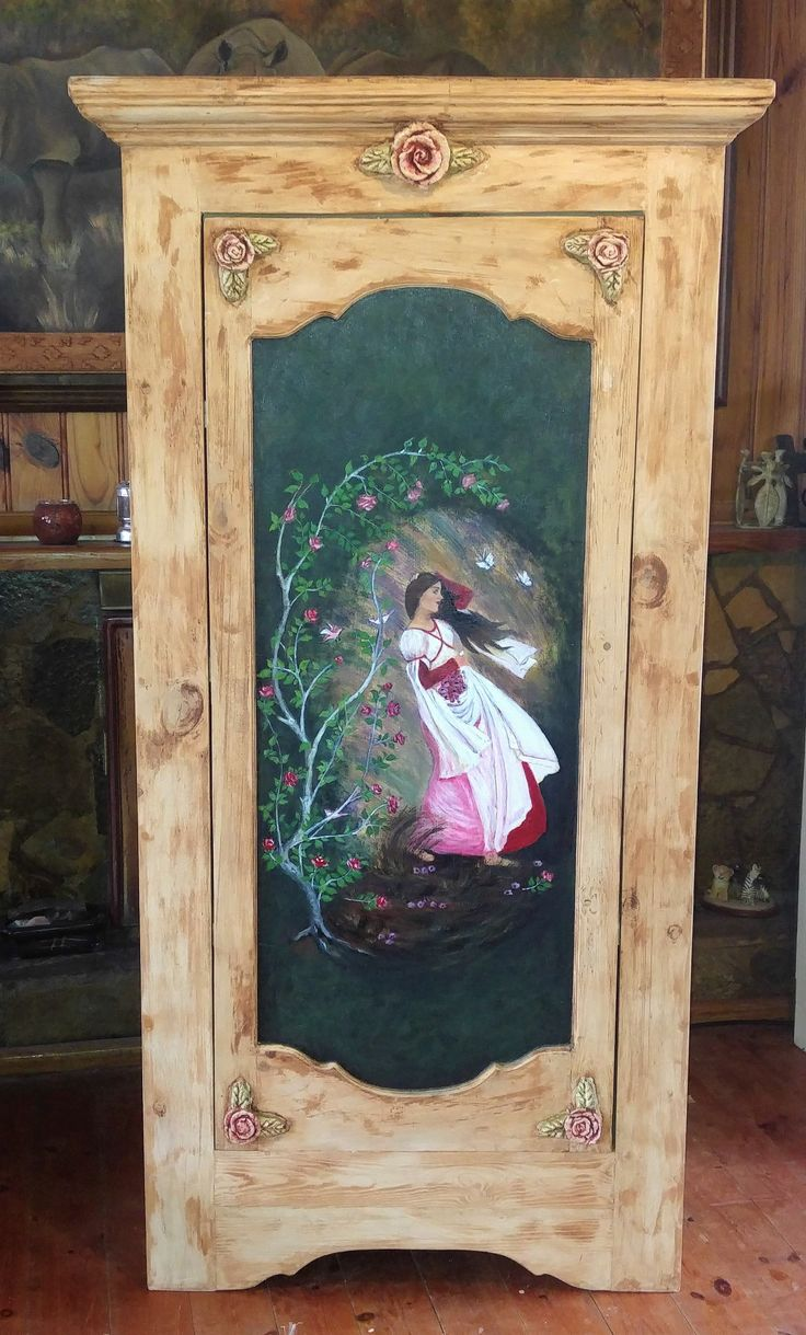 The Ruby Lady. Our Storage cupboard stands tall 1500 mm and 700 mm wide, depth 470 mm Priced at R5800.00 You will love our storage armoire.  It is sturdy, can be used for anything and will fit in anywhere.  It has 4 shelfs and is spacious. I call the painting Ruby Lady hence the name of this cupboard. My inspiration mostly drawn from the Rococo era and artist