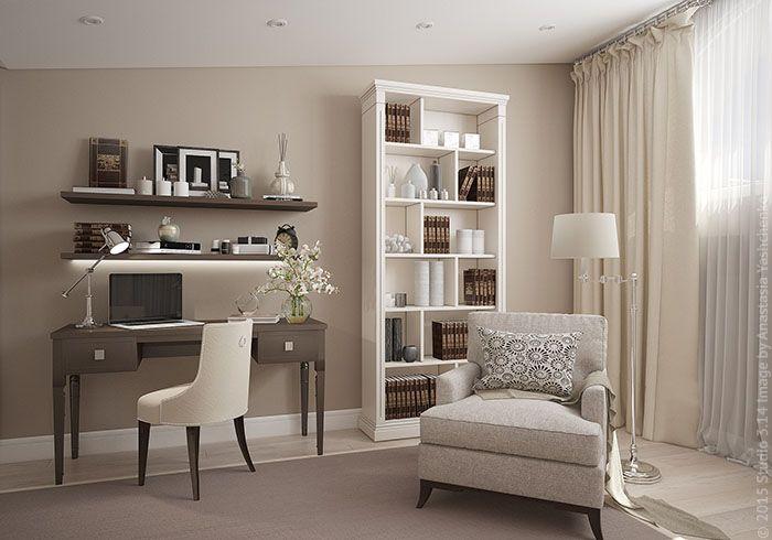Комната оборудована компактным рабочим столом. Кресло и торшер образуют место для чтения.