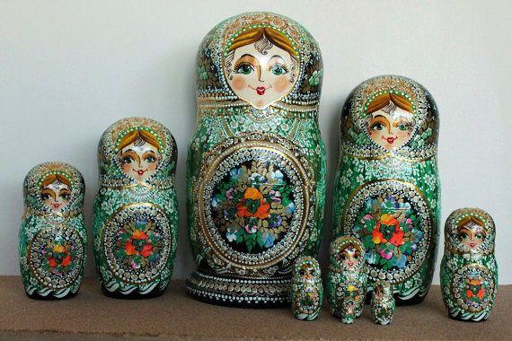 Green Nesting dolls matryoshka russian babushka stacking dolls set of 10 on Etsy, $265.00