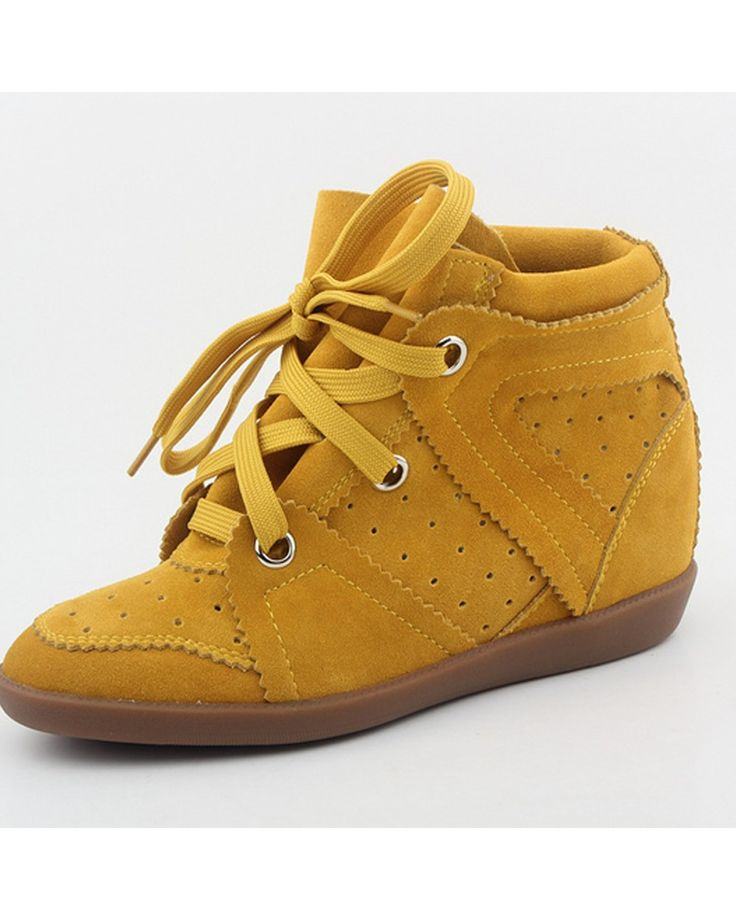 Isabel Marant Bobby Suede Wedge Hidde Sneakers Yellow - Isabel Marant #isabelmarant #shoes #sneakers #women #womenfashion #newyear #fashion #gifts