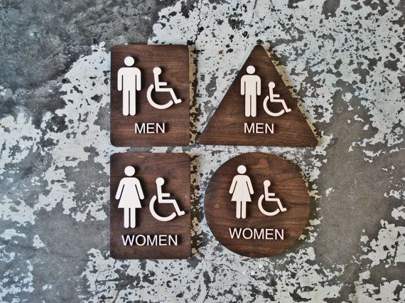 California Title 24 Restroom Signs - ADA Compliant Bathroom Set of 4 Signs - Custom Modern Interiors - Grade 2 Braille Included by grayskunk