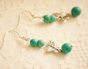 Turquoise Beaded Earrings with Silver Tone Butterflies Dangle Earrings