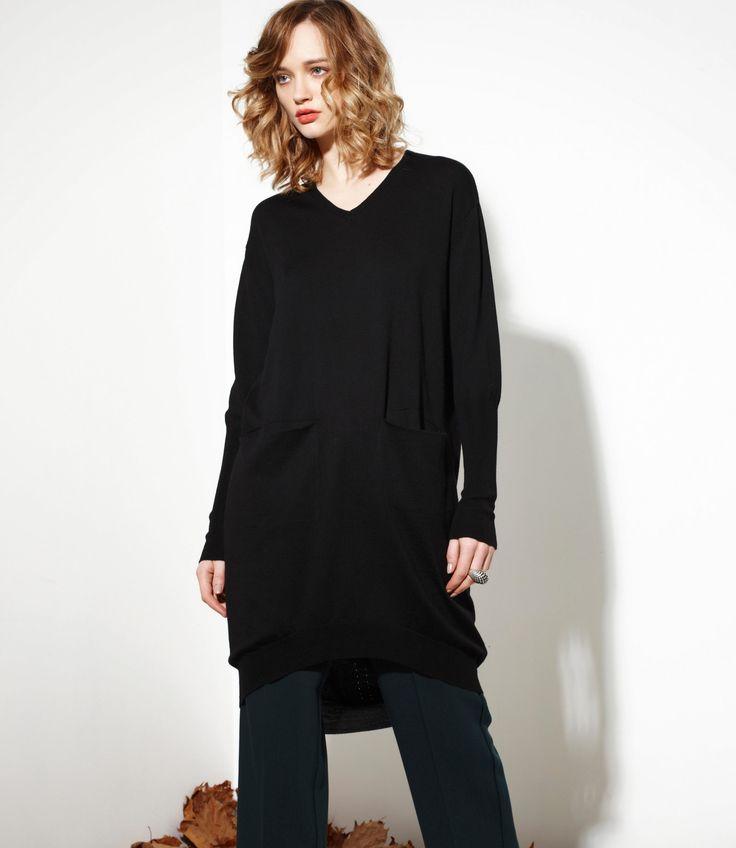 Dependable Sweater in Black - 100% Merino www.nineteen46.co.nz