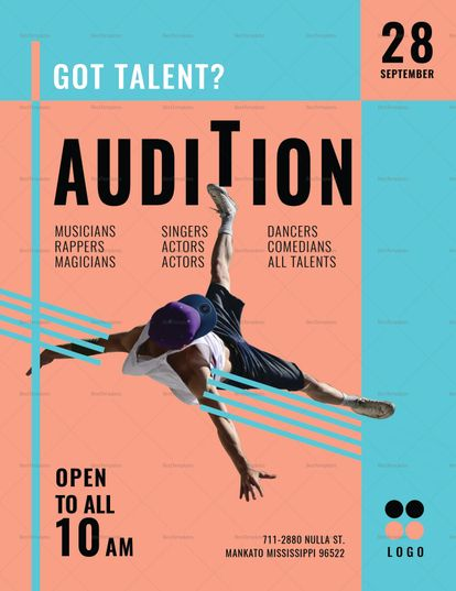 audition flyer template design flyer templates pinterest flyer