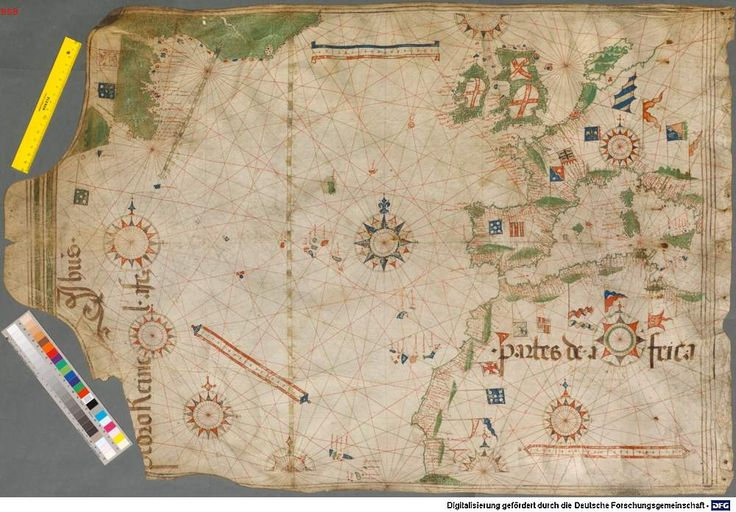 Pedro Reinel -[Carta do Atlântico Norte]. 1504.  Cota: Bayerische Staatsbibliothek (Munique)  BSB Cod Icon 132. http://daten.digitale-sammlungen.de/~db/bsb00002580/images/