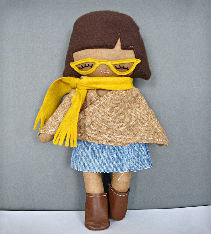 Hipster Girl Rag Doll with Heart Tattoo By Riley Construction on Scoutmob Shoppe. Yes, she does have on hip glasses, boots and a poncho. $42