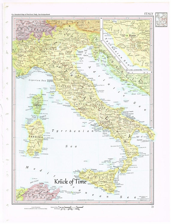 1960 Vintage Map ITALY by KnickofTime World Maps