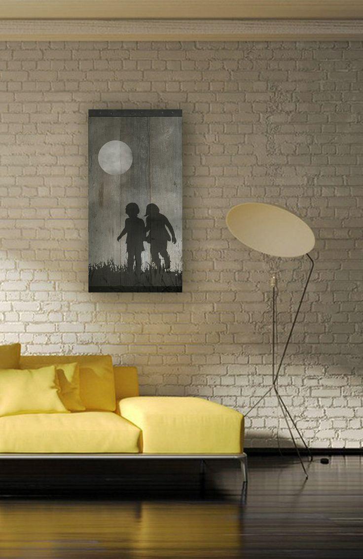 Reclaimed Wood Wall Art Children Playing in the от TKreclaimedART