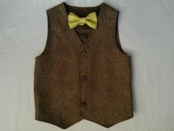 Boys Brown Wool Herringbone Tweed Vest  Woodland Wedding Boys Waistcoat Ring Bearer Outfit - For Sam!!! So Adorable! :)
