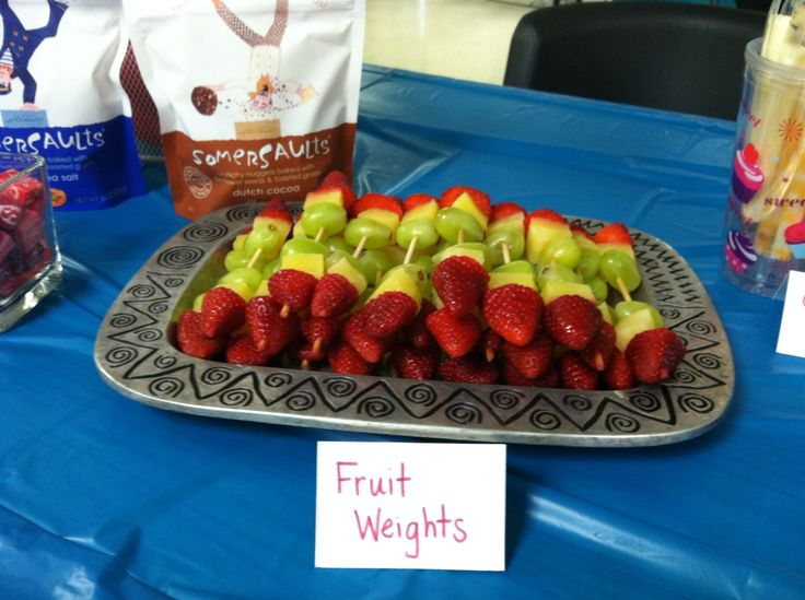 Gymnastic party food ideas: fruit weights