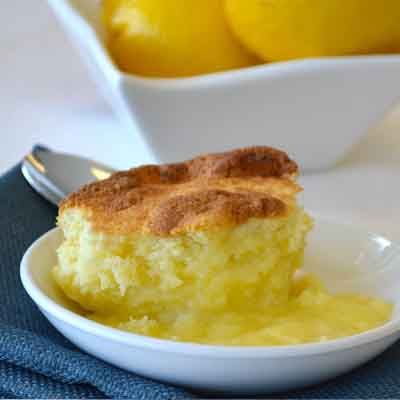 Lemon pudding cake is an old-fashioned dessert best served warm.