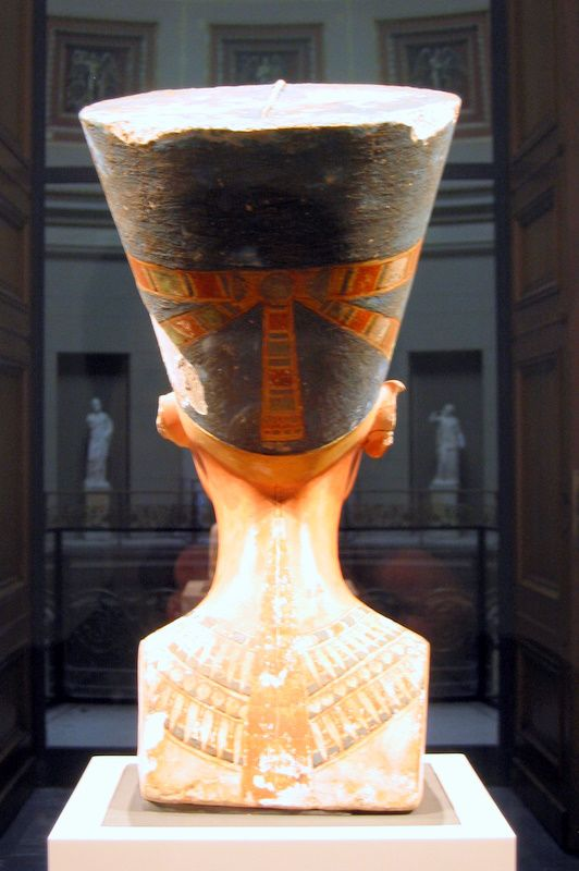 Nefertiti Busthe Nefertiti Bust is a 3,300-year-old painted limestone bust of Nefertiti, the Great Royal Wife of the Egyptian Pharaoh Akhenaten, and one of the most copied works of ancient Egypt. Owing to the work, Nefertiti has become one of the most famous women of the ancient world, and an icon of feminine beauty. The work is believed to have been crafted in 1345 BC by the sculptor Thutmose.