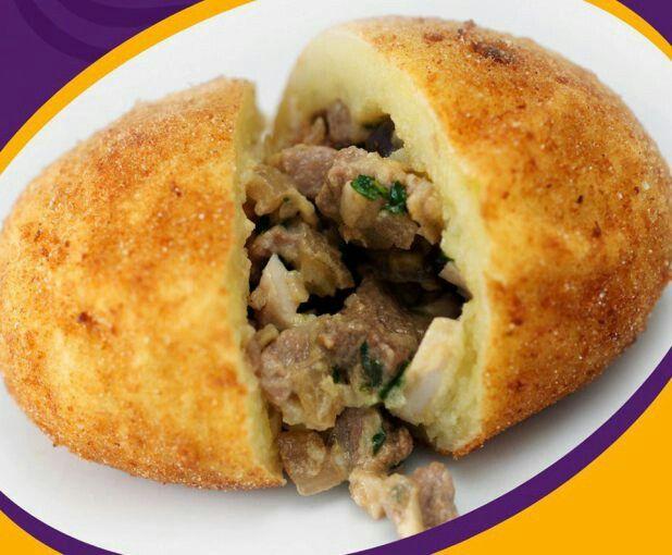 Peruvian-style Papa Rellena (Deep Fried Stuffed Potato) : food