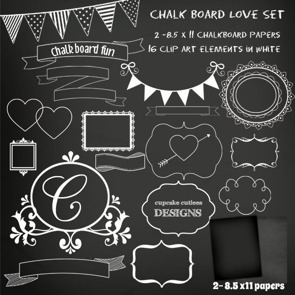 Chalkboard Frames and Paper Set - great for invitations, cards and paper goods.