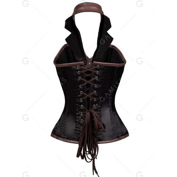 Brown 3xl Halter Steam Punk Steel Boned Corset Top ($31) ❤ liked on Polyvore featuring tops, steampunk corset tops, brown steampunk corset, brown top, halter corset and steel bone corset