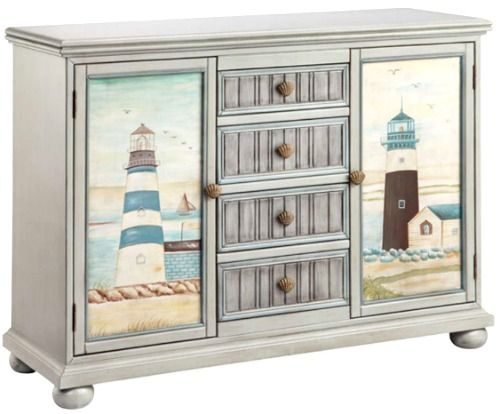 Lighthouse Cabinet: http://www.completely-coastal.com/2016/08/coastal-cabinets-and-chests.html Painted lighthouses on cabinet doors.