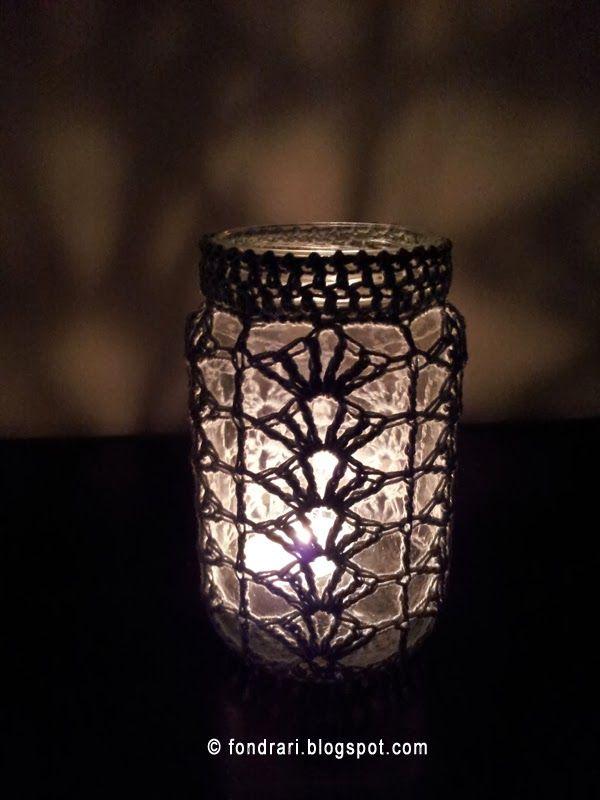 Pattern for crochet jar covers. Shell pattern.