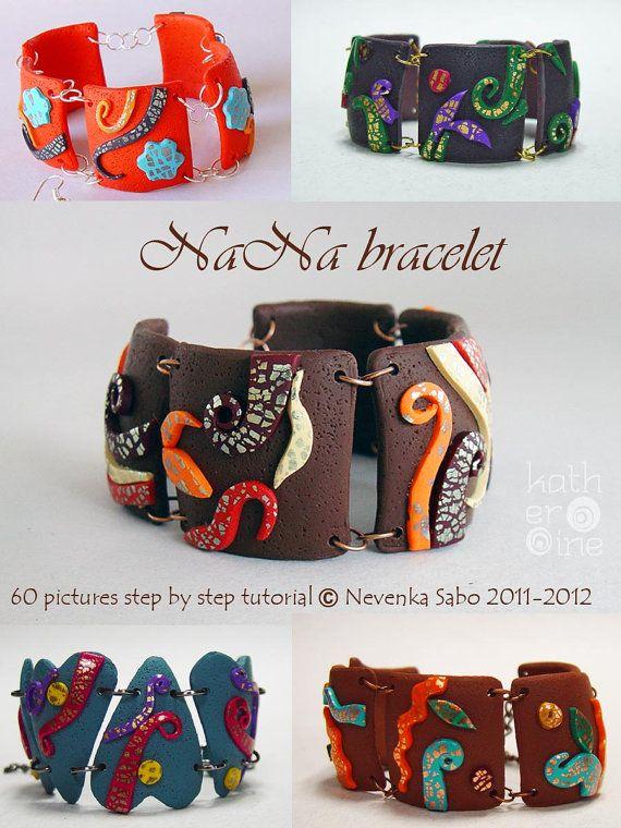 NaNa polymer clay Bracelet PDF Tutorial by ArtStudioKatherine, €15.00