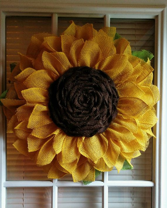 Check out this item in my Etsy shop https://www.etsy.com/listing/231706355/sunflower-wreath-burlap