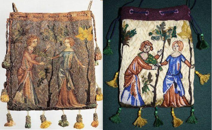 Opus anglicanum. Parisian purse 1340.  - jałmużniczka przedstawiająca scenę miłosną - kochankowie w ogrodzie.  Rekonstrukcja: nici jedwabne, maj 2015