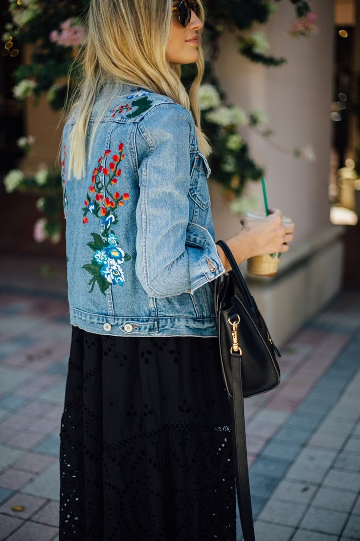 Basically looks like this dress denim jacket converse example - Do You Love The Embroidery Trend Adding A Few Patches Here And There Can Really Embroidered Denim Jacketembroidered