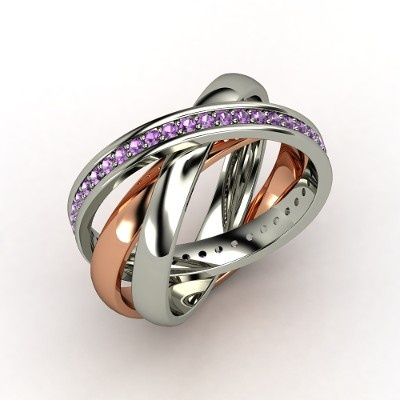 The Triple Rolling Rings #customizable #jewelry #amethyst #silver #rosegold #ring