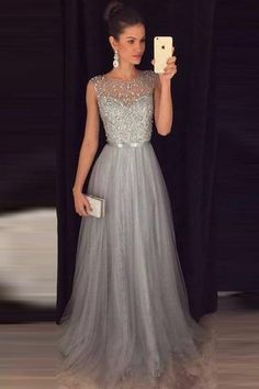 Cheap A-line Gray Sleeveless Tulle Sequined Long Formal Dress,Prom Dresses,N516