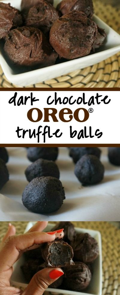 Easy dark chocolate OREO truffles recipe - Love these little bite sized decadent chocolate dessert balls! This is a 3 ingredient, non dairy OREO balls recipe without cream cheese, it's a keeper!