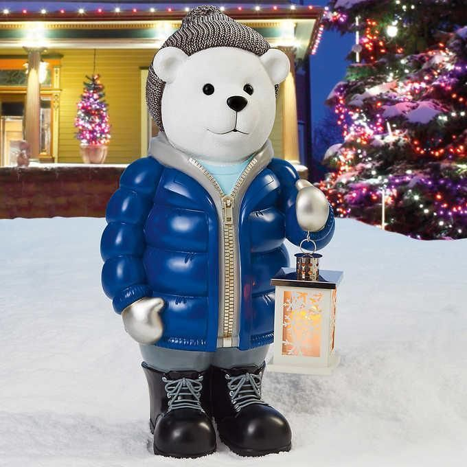Polar Bear Greeter W Led Lantern Home Christmas Light Decoration Outdoor Deco Indoor Lamp Led Lantern Holiday Decor Christmas
