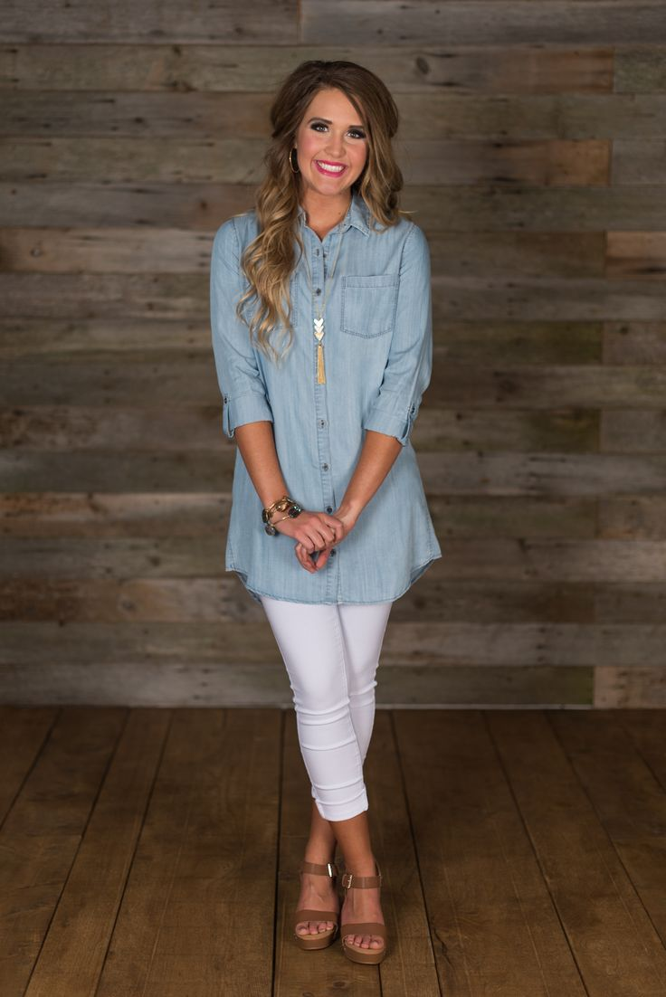 Summer Chambray Tunic is classic button up styling. Basic shirt collar, button-up closure and 3/4 rolled, button tab sleeves.