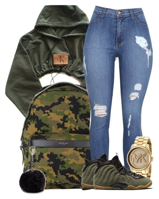 """School"" by kaygwuapo ❤ liked on Polyvore featuring Michael Kors, NIKE and Nine West"