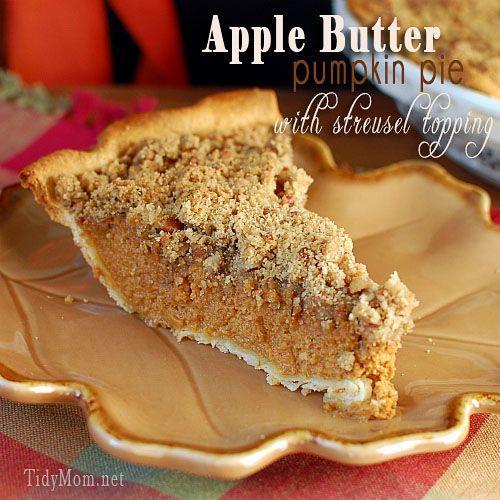 "This delicious combination of flavors and texture just screams ""fall"" Apple Butter Pumpkin Pie with Streusel Topping gives a surprising crunch in every bite recipe at TidyMom.net"